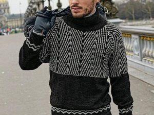 «Ленивый» жаккард для мужского свитера и не только. Ярмарка Мастеров - ручная работа, handmade.