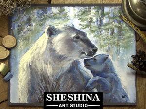 Video DIY: Painting a Polar Bear with Dry Pastel Crayons. Livemaster - handmade