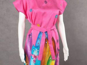Акция одного дня: новые платья с весенними котиками по 4000руб!. Ярмарка Мастеров - ручная работа, handmade.