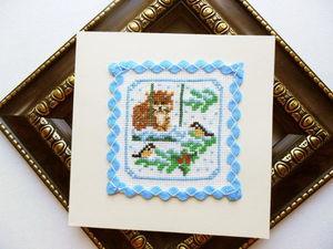 Щедрый аукцион с нуля. Набор открыток с котом, ручная вышивка крестом.. Ярмарка Мастеров - ручная работа, handmade.