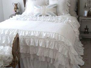 Комплект постельного белья в стиле шебби шик с необычными оборочками. Ярмарка Мастеров - ручная работа, handmade.