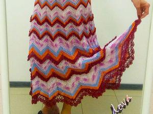 Вяжем крючком длинную юбку «Зигзаг». Часть 2. Ярмарка Мастеров - ручная работа, handmade.
