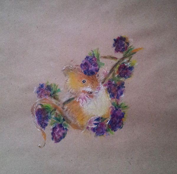 рисование, мыши, гриб, позитивные картинки, крафт-бумага