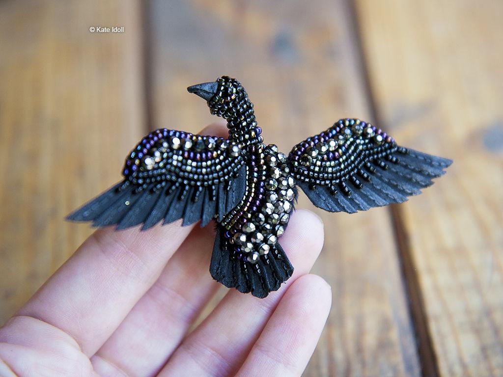 Скульптурная вышивка на примере миниатюрной птички-броши, фото № 2