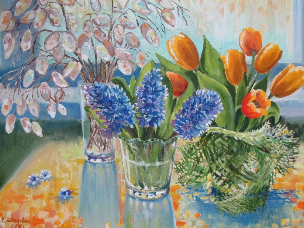гиацинт, картина в интерьер, весна, желтый цвет, ярмарка мастеров