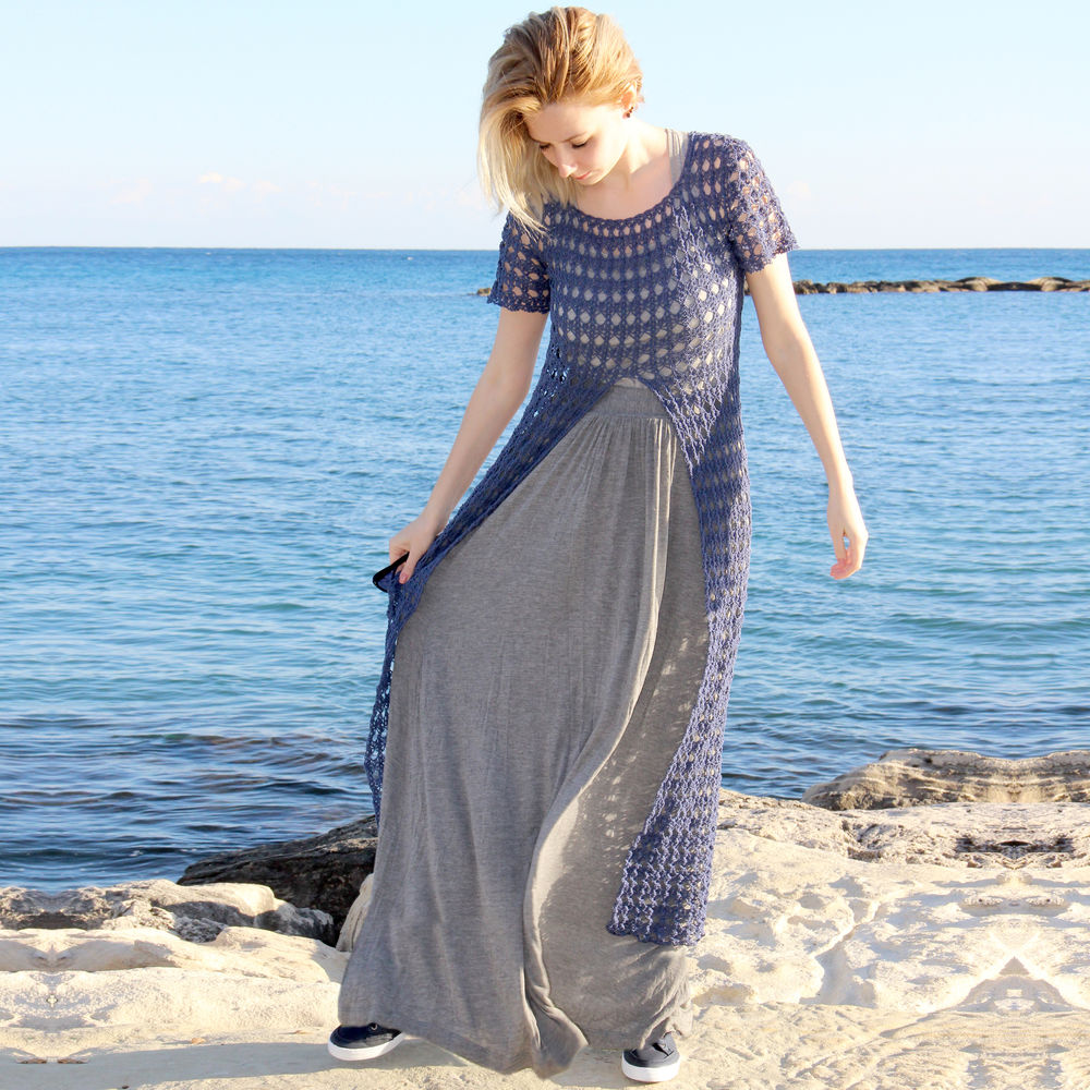 синий, туника ажурная, кофточка вязаная, пляжная мода, бохо одежда, бохо, синяя туника