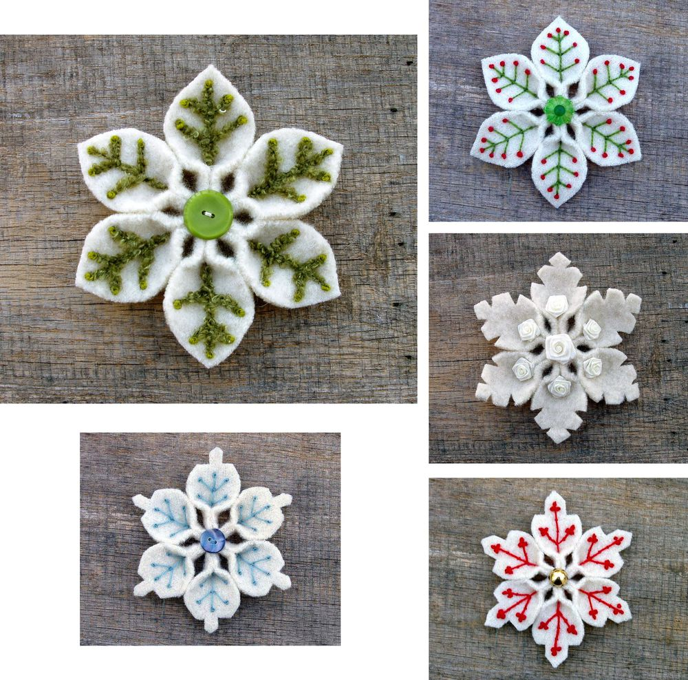 knitted snowflakes