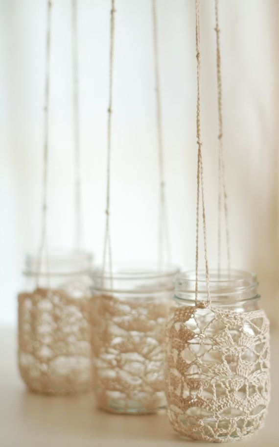 Crochet Lace Mason Jar Hangers by SpindleShuttleNeedle on Etsy