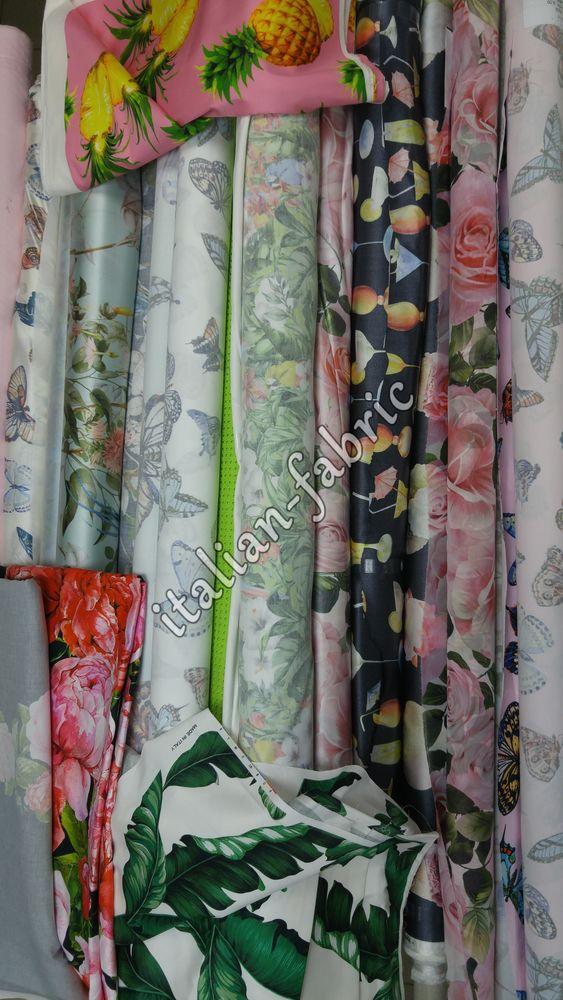 итальянские ткани, розы, банановые листья, лето 2017