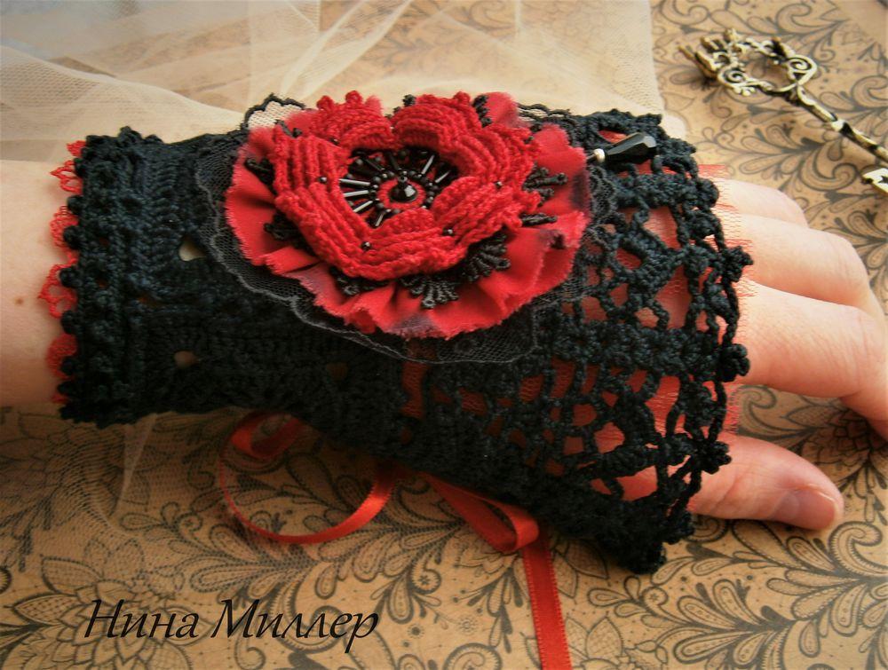 новая работа, черный цвет, красный цвет, красный цветок, сваровски, викторианский стиль, готический стиль, винтажный стиль