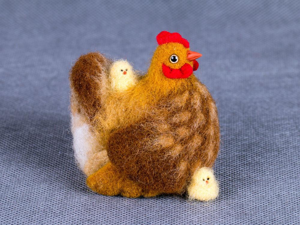 курочка из шерсти, цыпленок валяние