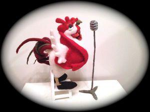 Шерстяная скульптура - петушок   Ярмарка Мастеров - ручная работа, handmade