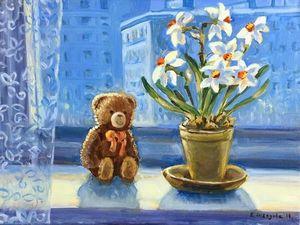 Весна на подоконнике — картина маслом на холсте, 15% Скидка! Осталось два дня!. Ярмарка Мастеров - ручная работа, handmade.