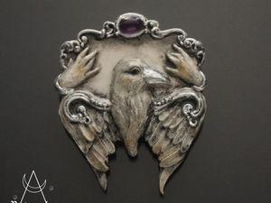 Crow constellation.Брошь из полимерной глины Винтажный стиль ворон. Ярмарка Мастеров - ручная работа, handmade.