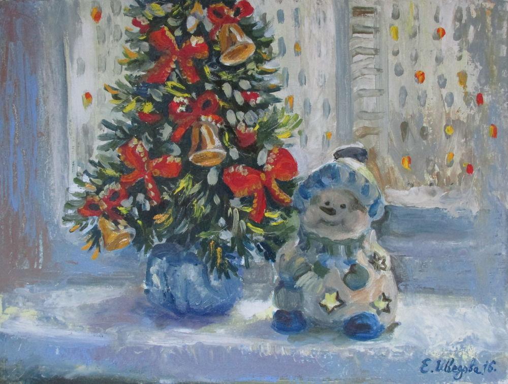 новый год, картина в подарок, купить картину в москве, зимняя сказка, елочка