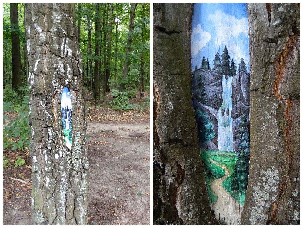 роспись на дереве, дерево, водопад, сказка
