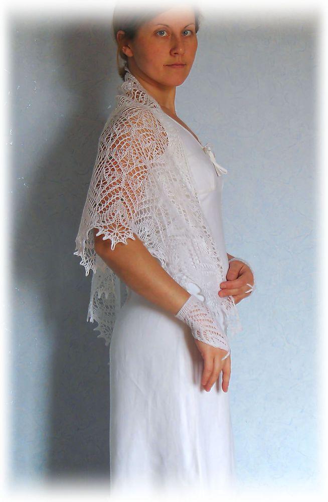 шаль, свадебный набор, белый цвет
