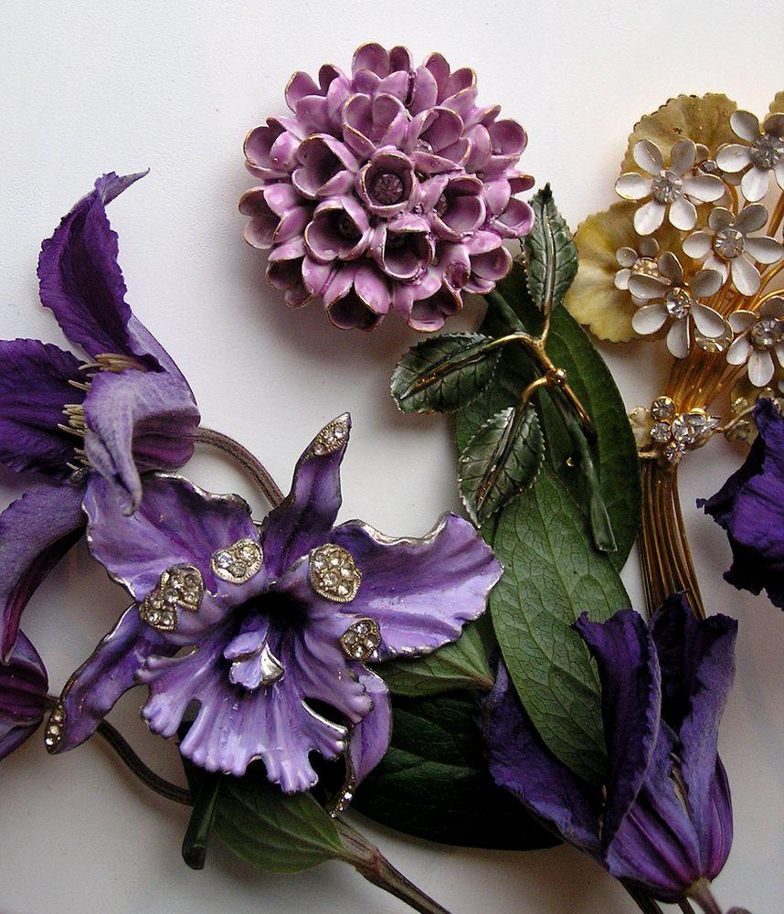 винтаж, винтажный стиль, винтажные украшения, винтажная бижутерия, винтажная брошь, орхидея, букет