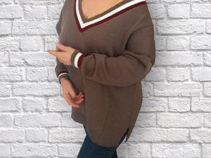 Модный пуловер со спущенным рукавом и V-образным вырезом оверсайз. Ярмарка Мастеров - ручная работа, handmade.
