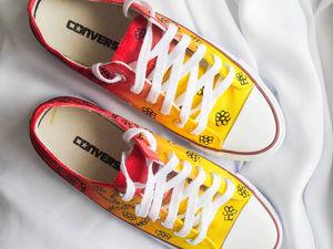 Парные кеды Converse для влюбленных! Скидка 35%! До 03.10.17. Ярмарка Мастеров - ручная работа, handmade.