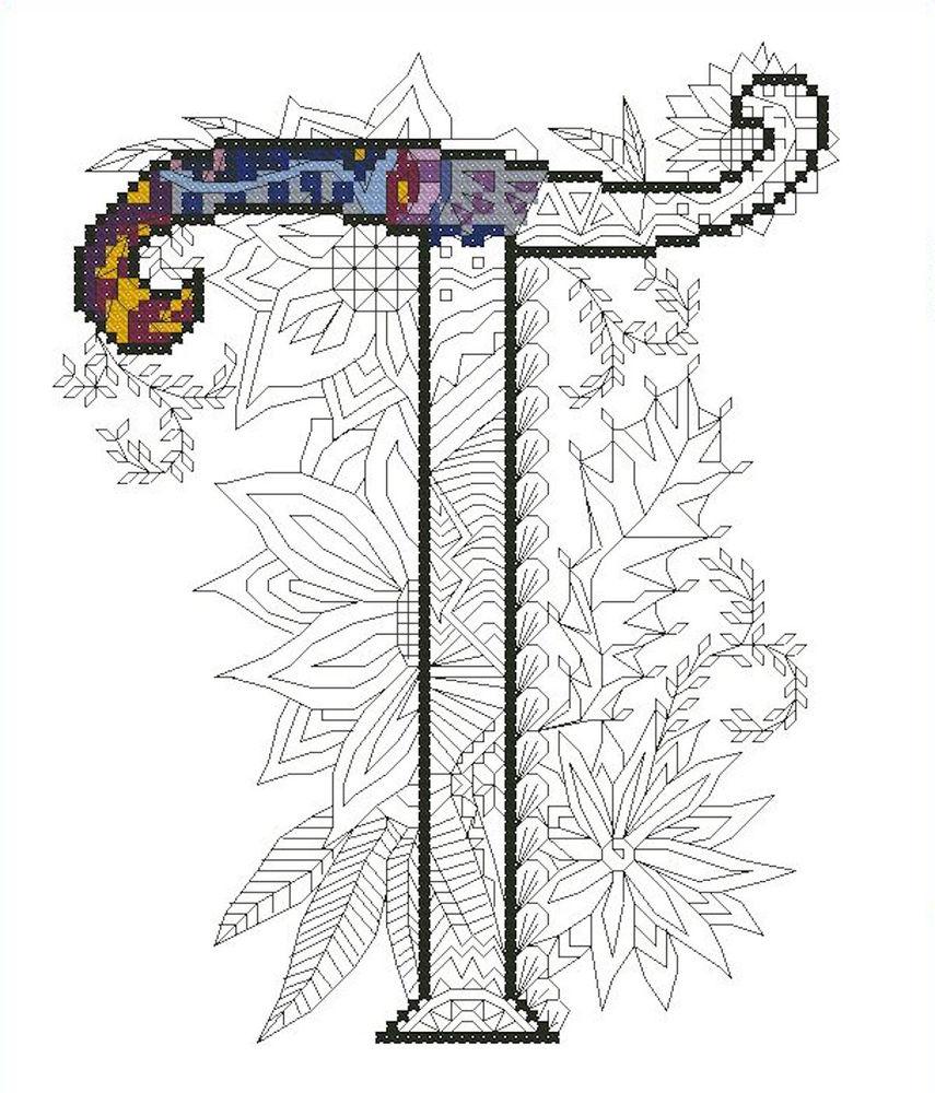 схема для вышивки, буква, вышивка