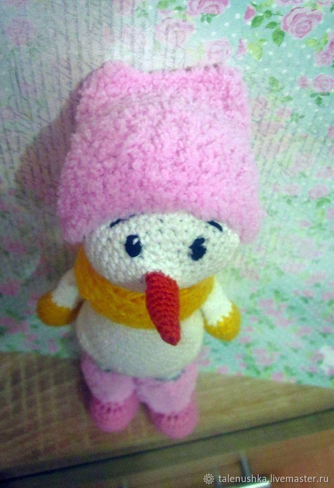 снеговик, подарок девушке, амигуруми, игрушка в подарок