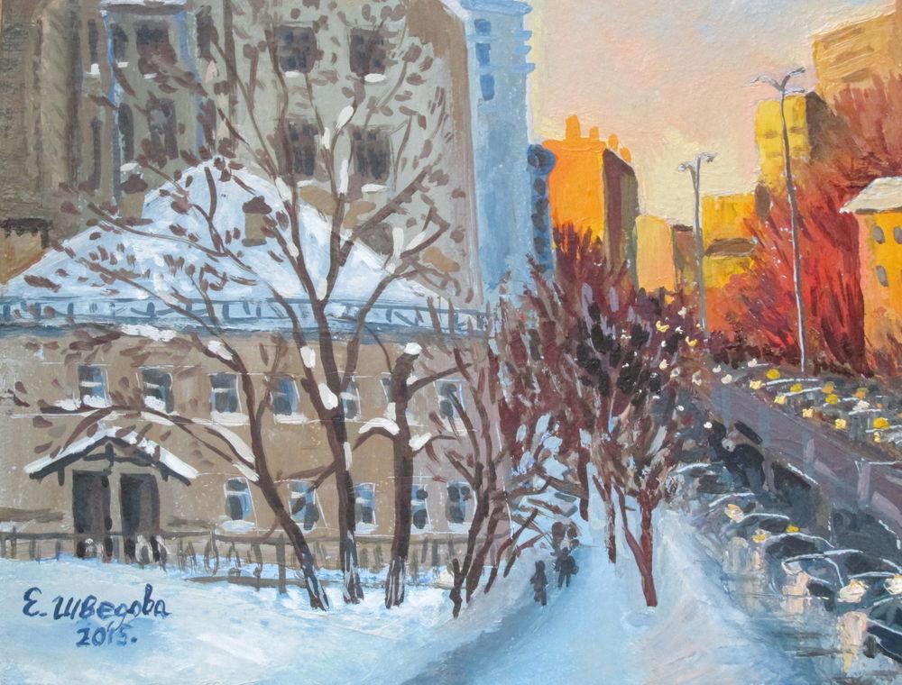 городской пейзаж, москва, живопись маслом, солнце, картина для интерьера, дорога, интересный подарок