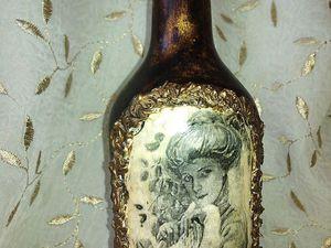 Декор бутылки с объемной рамкой. Ярмарка Мастеров - ручная работа, handmade.