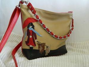 Аукцион №2 на кожаную сумочку с аппликацией. Старт 1500р. Ярмарка Мастеров - ручная работа, handmade.