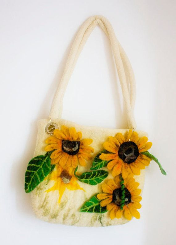 Felted bag from a wool Sunflowers by irinaonix on Etsy, $65.00