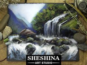 Видеоурок: рисуем водопад сухой пастелью. Ярмарка Мастеров - ручная работа, handmade.