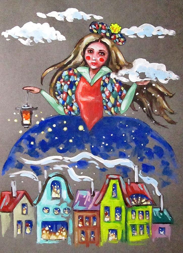 девушка, платье, облако, снег, зима, вечер, домики, волшебство, фонарь, фонарик, купить картину, картина в подарок