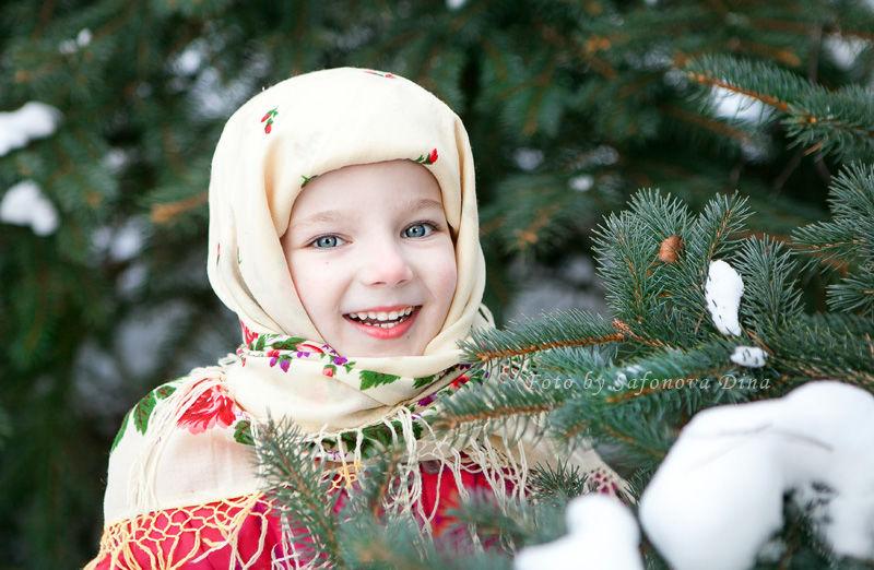 зимний лес, фотосессия, морозко, дети