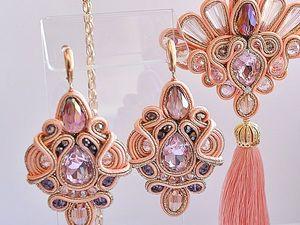 Сутажный комплект Розовый фламинго. Ярмарка Мастеров - ручная работа, handmade.
