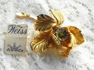 Видео. Брошь Золотой цветок, Weiss, США. Ярмарка Мастеров - ручная работа, handmade.