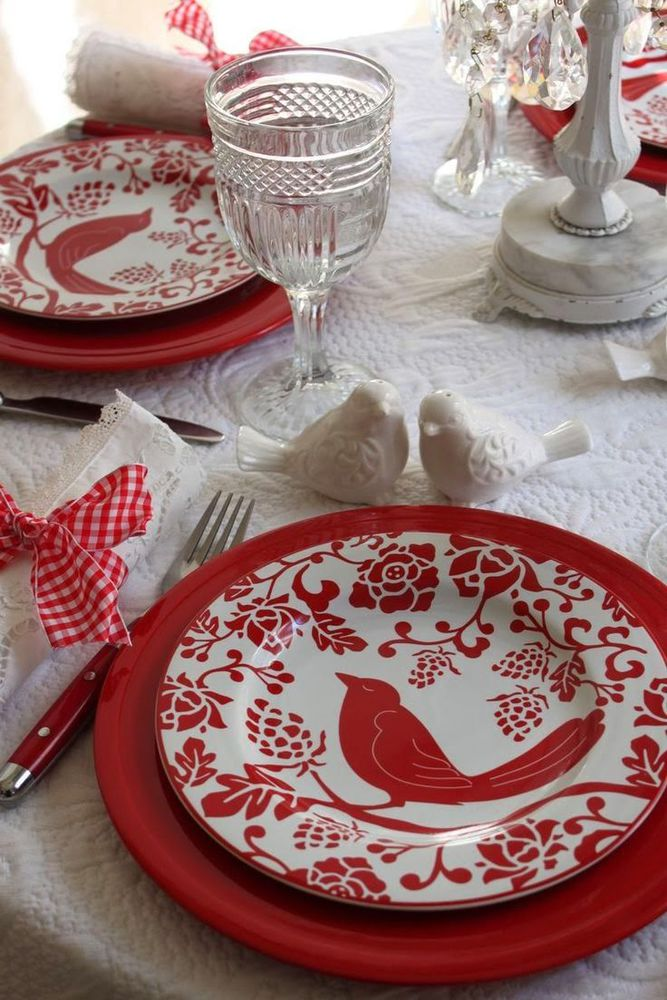 Love Bird Dishes~Pretty Red And White