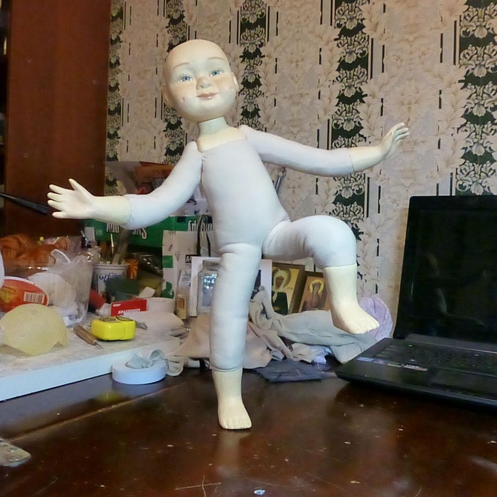 авторская кукла, девочка с мишкой