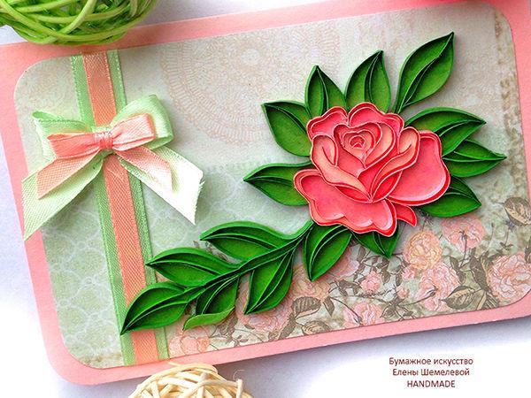 Приглашение на бесплатный Онлайн-МК Открытка «Роза — королева цветов» техника контурный квиллинг | Ярмарка Мастеров - ручная работа, handmade