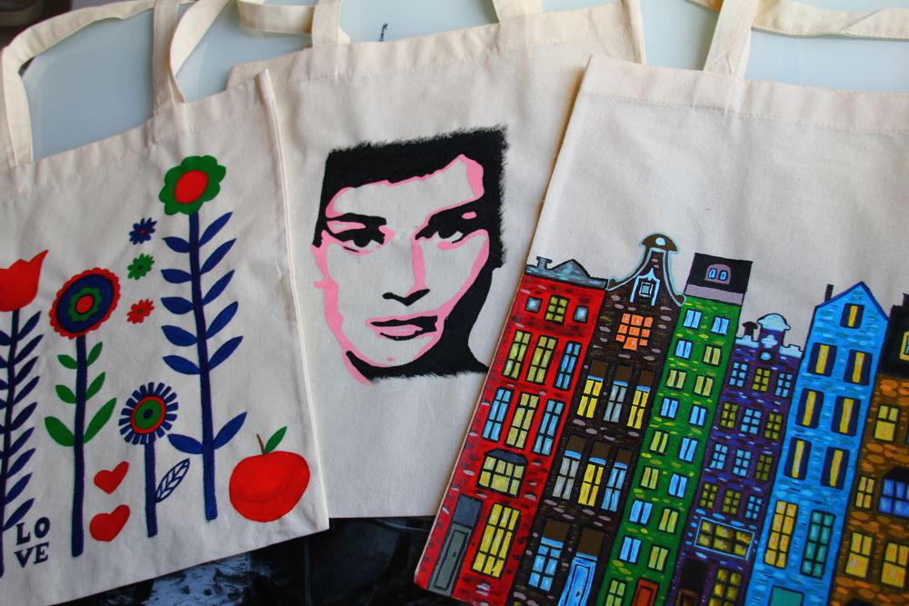 Новинка магазина - хлопковые эко сумки с ручной росписью., фото № 3