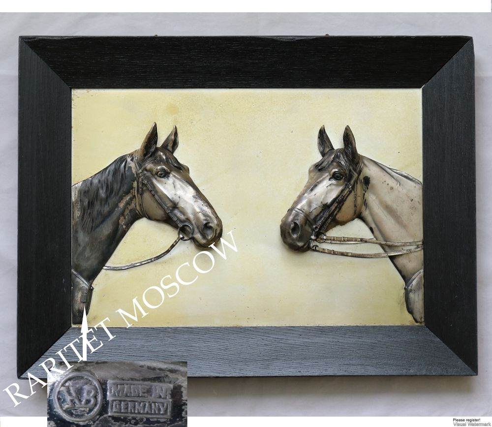 Картина панно конь лошадь серебрение Германия 7, фото № 2