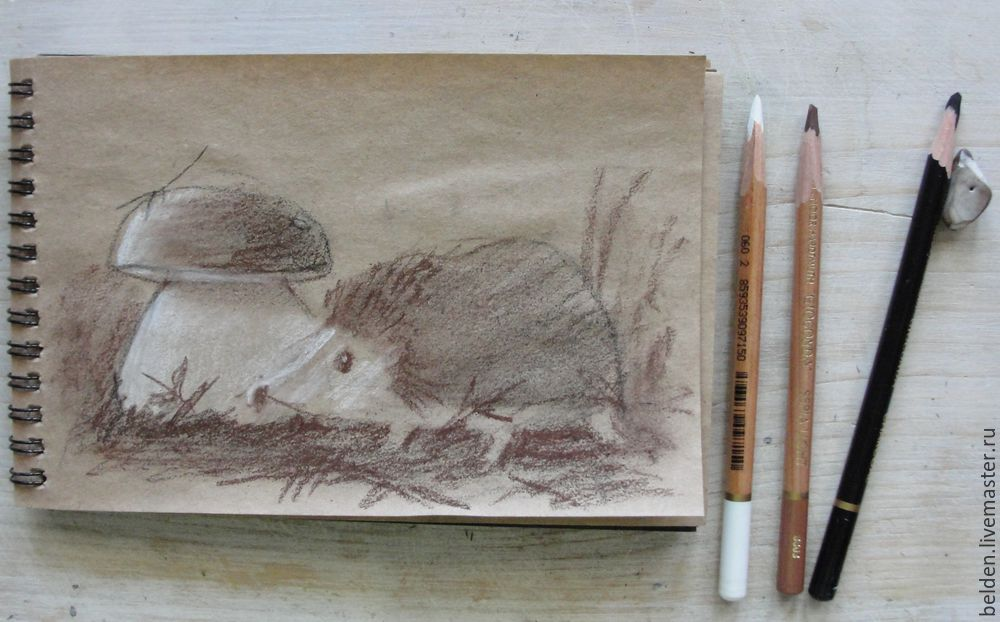 Рисуем забавного ёжика в тумане под грибом, фото № 3