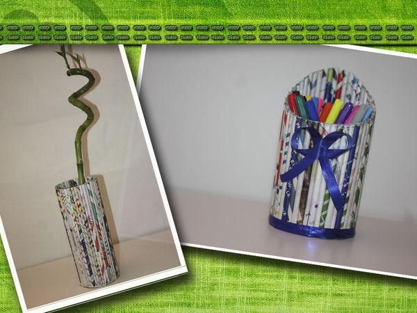Стильная подставка для карандашей или Ваза из журналов | Ярмарка Мастеров - ручная работа, handmade
