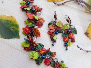 Создание комплекта из полимерной глины и бусин «Сны листопада». Ярмарка Мастеров - ручная работа, handmade.