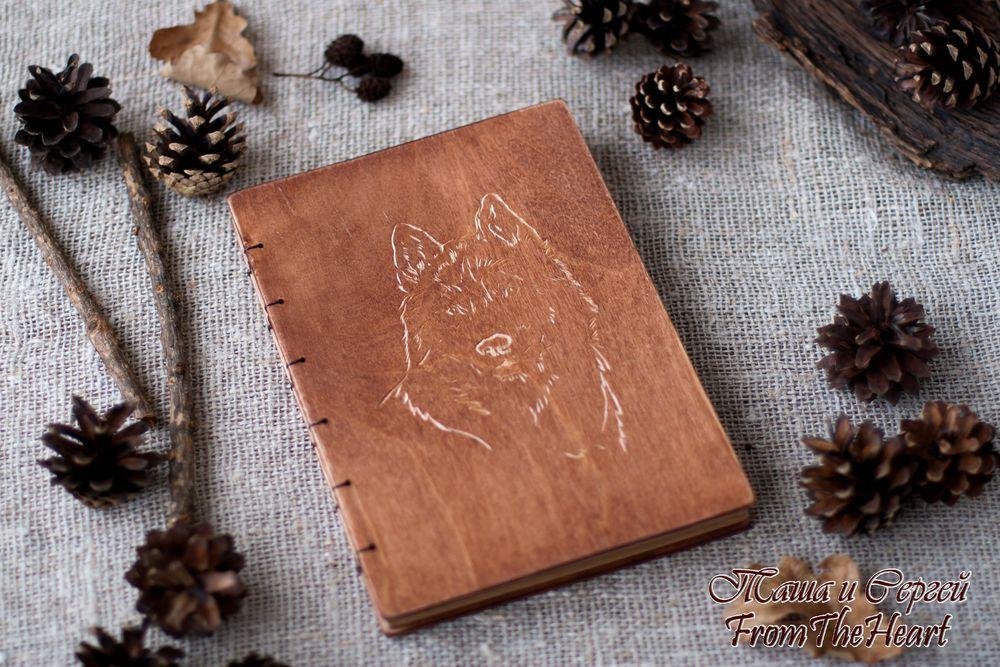 блокнот с волком, коричневый, лучший подарок