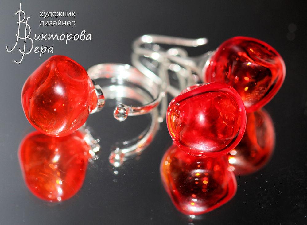 серебряные украшения, кулон лэмпворк