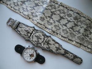 Ремешок для часов из натуральной кожи змеи. | Ярмарка Мастеров - ручная работа, handmade