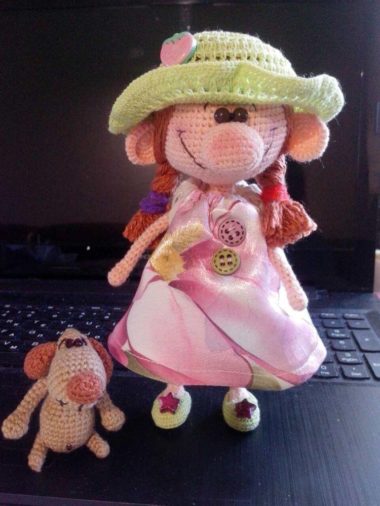 кукла с собакой, вязание для детей, кукла крючком