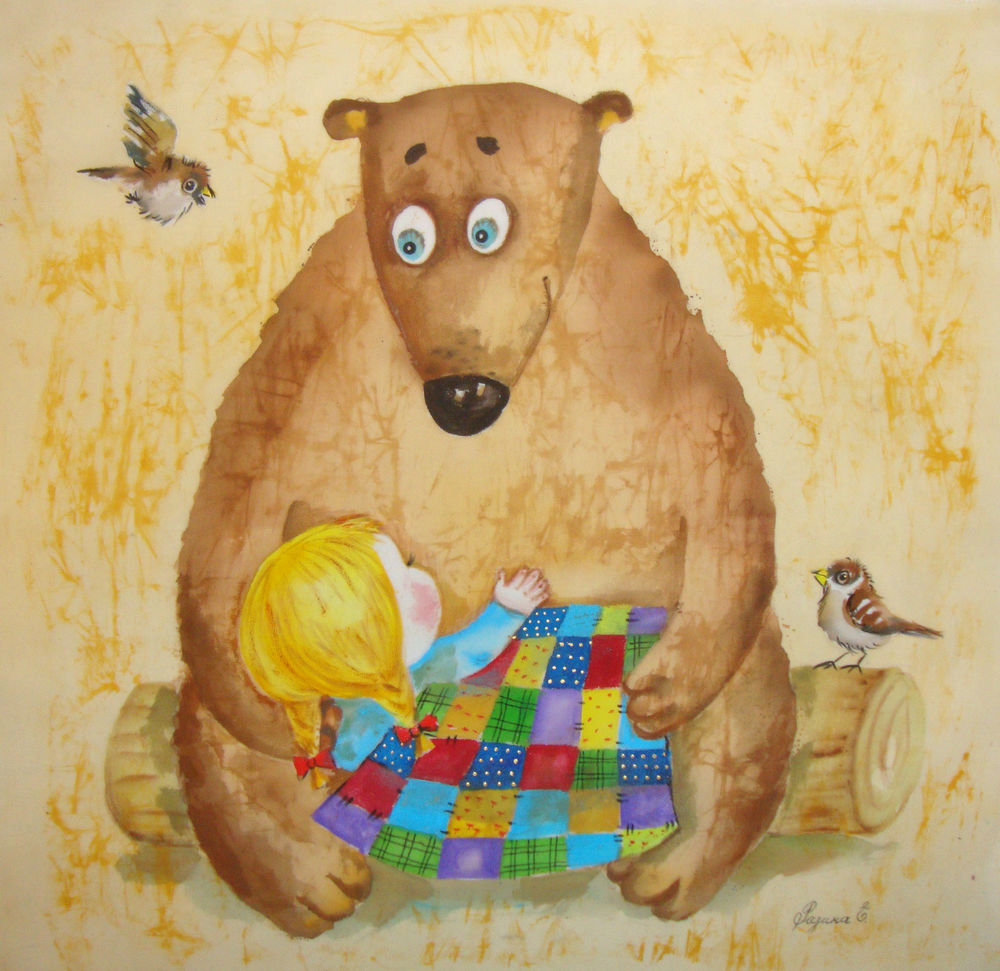картина, батик, панно, маша, медведь