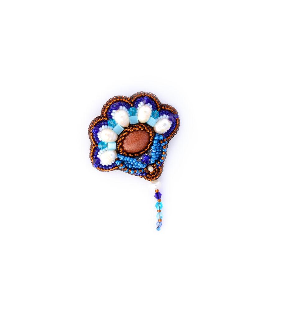 брошь-цветок, брошь синяя