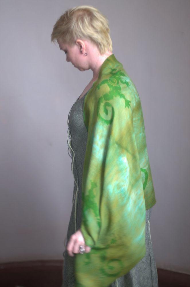 шелковый шарф, платок батик, паутинка